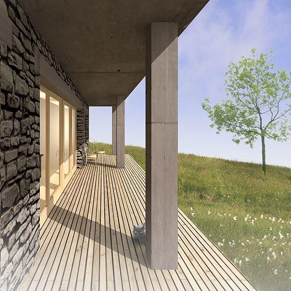 stone hillside house